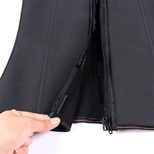 468e49f2025 YIANNA Women s Latex Three Row Zipper Front Waist Cincher Corset ...